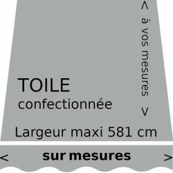 Toile unie couleur grise argent confectionnée sur mesure avec lambrequin en forme de vague