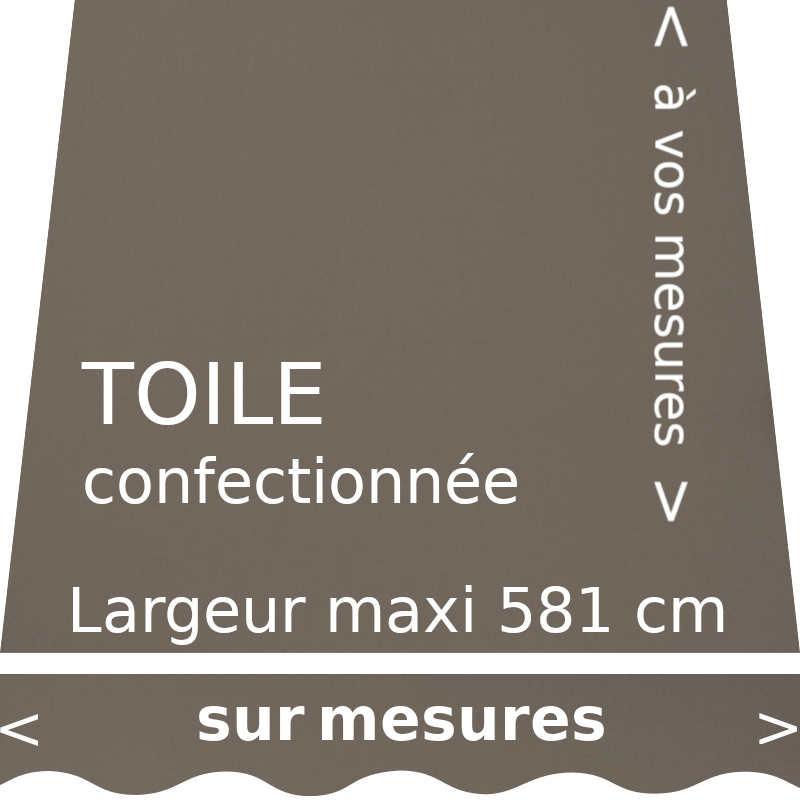Toile pour store banne, couleur Taupe, avec lambrequin en forme de vague, confectionné sur mesure