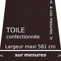 Toile unie couleur chocolat pour store banne avec son lambrequin de forme droite