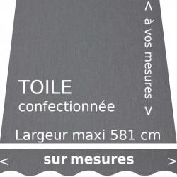 Toile unie gris flanelle confectionnée à vos mesures avec lambrequin de forme vague