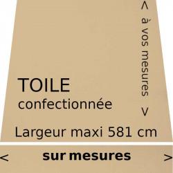 Toile couleur Dune (beige) confectionnée sur mesure avec le lambrequin droit.