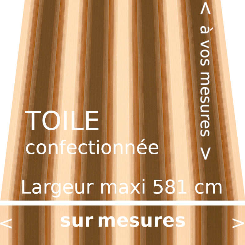 Toile fantaisie marron foncée, marron clair, crème. Modèle Baden-Baden avec lambrequin droit