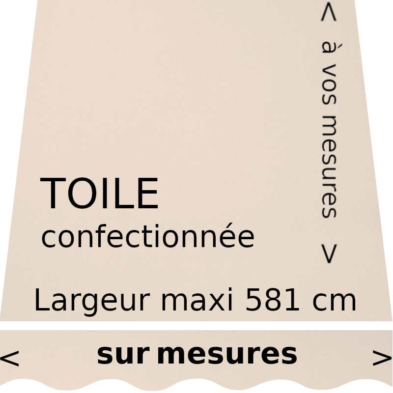 Toile unie couleur grège pour store banne et son lambrequin en forme de vague.