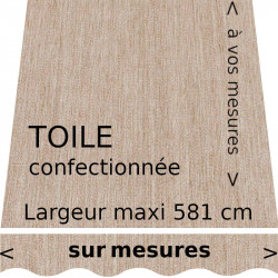 Toile unie couleur Lin (ivoire clair) confection à vos dimensions avec lambrequin en forme de vague