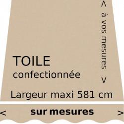 Toile unie couleur beige (RAL 1001) et son lambrequin forme vague