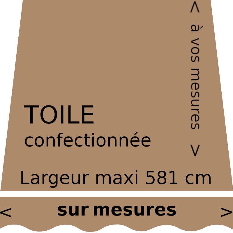Toile unie pour store couleur beige brun (toast) avec lambrequin droit. Confection à vos mesures