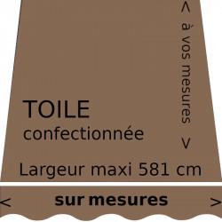 Toile unie couleur chanvre ( brun pâle) avec lambrequin vague