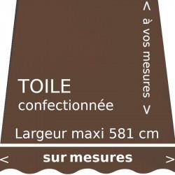 Toile unie couleur marron et lambrequin en forme de vague. Réalisation à vos dimensions.