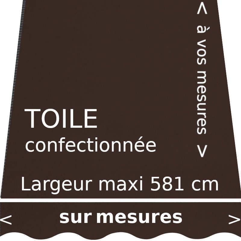 Toile unie couleur brownie (brun chocolat) et son lambrequin en forme de vague. Confection de la toile à vos dimensions.