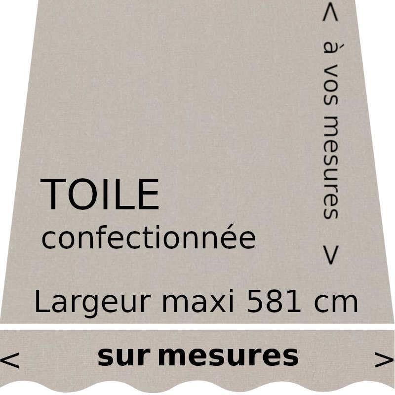 Toile unie couleur argile (gris soie) (RAL 7044) et lambrequin en forme de vague.