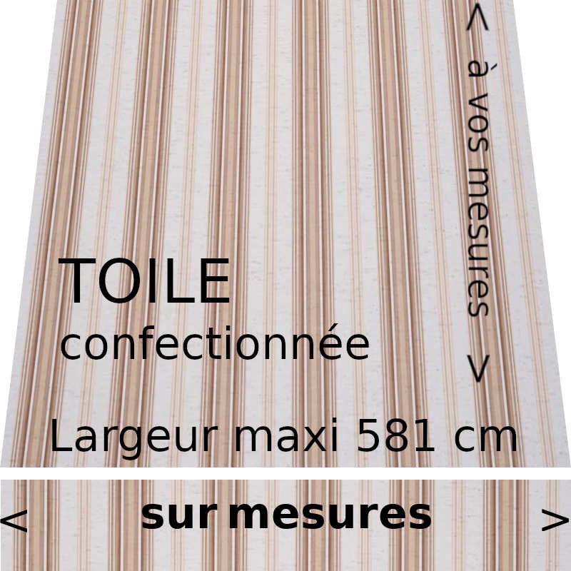 Toile acrylique rayée modèle Davos (grège et grège foncé) et lambrequin droit
