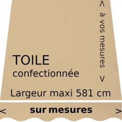 Toile couleur Beige Dune confectionnée sur mesures avec lambrequin vague.