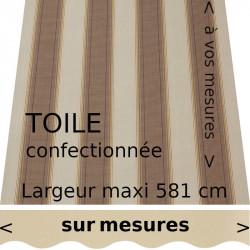 Toile confectionnée sur mesure modèle Boston avec le lambrequin forme vague couleur ivoire