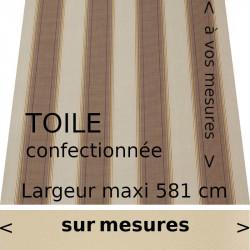 Toile confectionnée sur mesure modèle Boston et lambrequin droit couleur ivoire