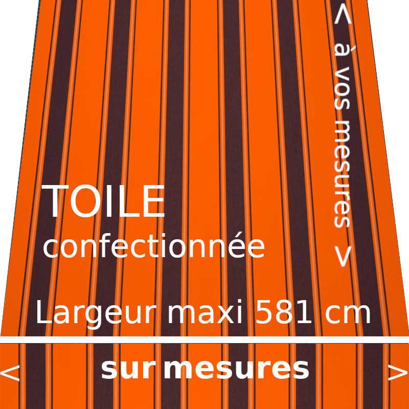 Toile rayée modèle Chantilly Orange avec lambrequin droit