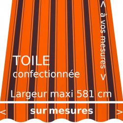Toile rayée modèle Chantilly Orange et lambrequin vague