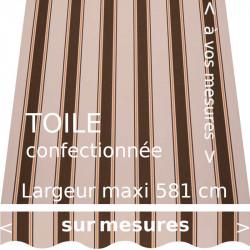 Toile rayée modèle Chantilly nature (marron mandarine ocre) et lambrequin vague