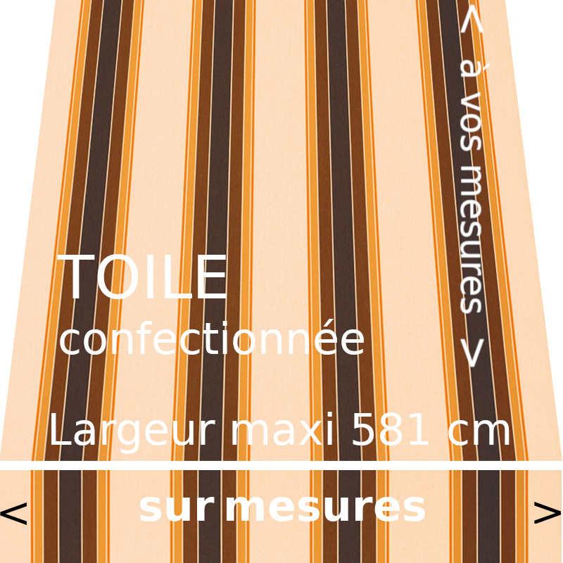 Toile rayée collection Ascot et son lambrequin droit confectionnés dimension de votre store