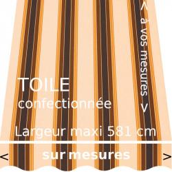 Toile rayée collection Ascot et son lambrequin vague confectionnés aux dimensions de votre store