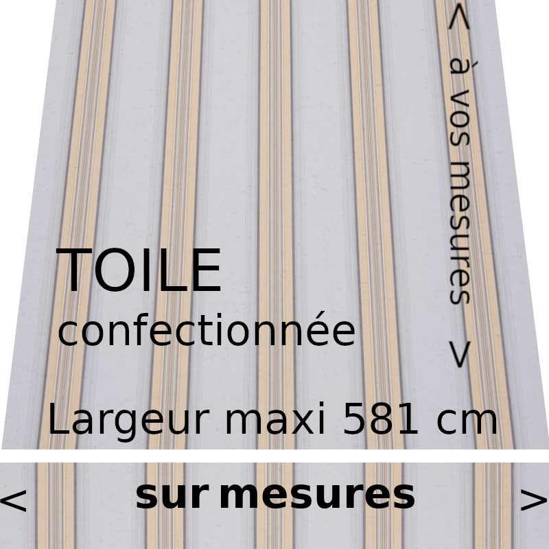 Toile rayée collection Ouessant et lambrequin droit (gris et jaune)