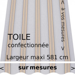 Toile rayée collection Ouessant et lambrequin vague (gris et jaune)