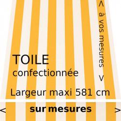Toile classique à rayures égales blanc et jaune confectionnée avec son lambrequin droit