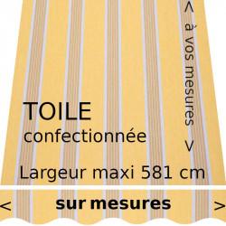 Toile collection Manosque jaune et son lambrequin vague. Confectionnée aux dimensions de votre store.