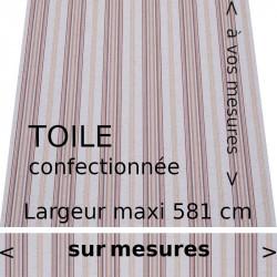 Toile acrylique rayures fantaisies pour store banne collection Davos (rouge bordeaux, grège, ocre) et son lambrequin droit