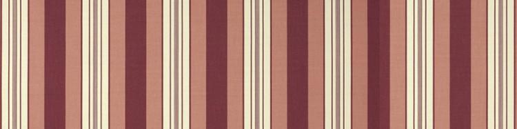 Stores toile à rayures fantaisies écru rouge bordeaux