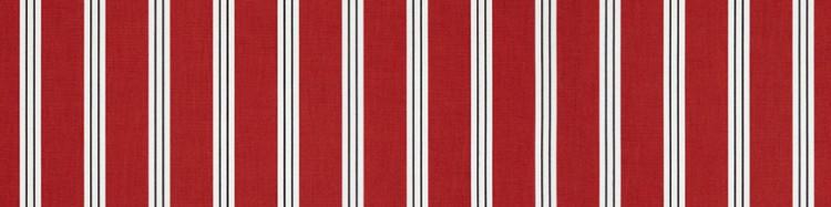 Stores toile à rayures fantaisies rouge blanc et noir Pompadour
