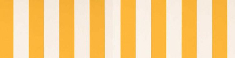 Stores avec toiles Blanc et Jaune ( largeur en façade 500 cm )