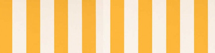 Stores avec toiles Blanc et Jaune ( largeur en façade 600 cm )