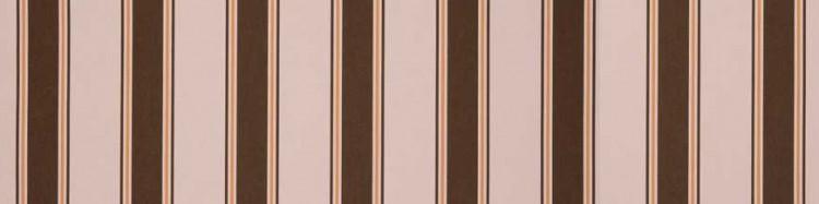 Stores toile à rayures fantaisies beige orangé, orange et marron brownie