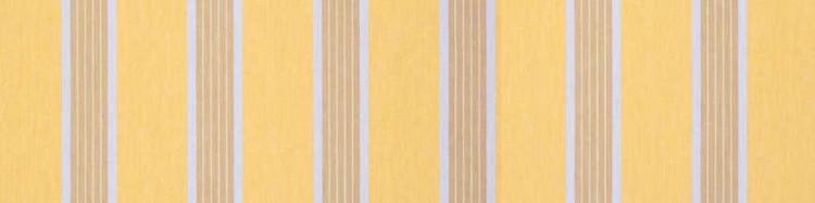 Stores toile à rayures fantaisies jaune moutarde, beige chiné et beige dune