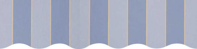 Stores toile à rayures fantaisies bleu ciel, bleu chiné et jaune paille