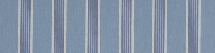 Stores toile à rayures fantaisies bleu bleuet, méditerranée et gris clair