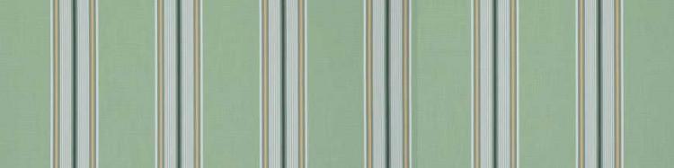 Stores toile à rayures fantaisies vert amande, vert fougère, blanc et orange