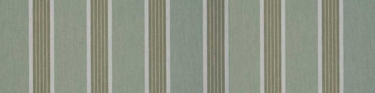Store toile à rayures fantaisies vert fougère, vert réséda et gris clair chiné