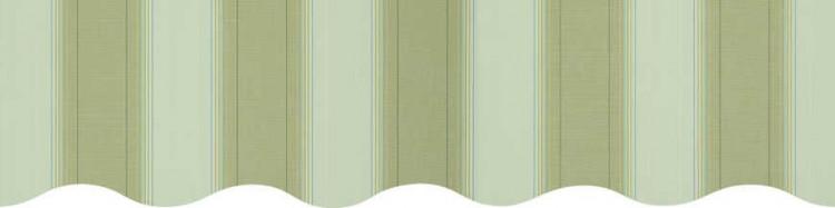 Stores avec toiles Boston Vert: rayures fantaisies vert clair, vert amande, jaune et bleu ( largeurs en façade  300 à 600 cm )
