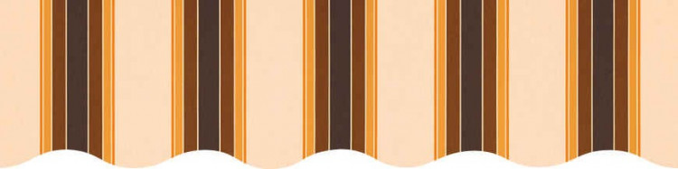Stores toile à rayures fantaisies écru marron et orange mandarine