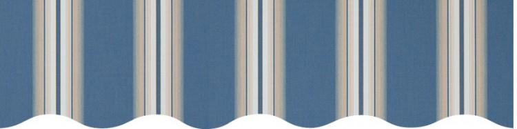 Stores toile à rayures fantaisies écru et bleu Venezia
