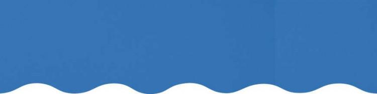Stores avec toiles Bleu Chardon ( largeur en façade 350 cm )