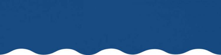 Stores avec toiles Bleu Méditerranée ( largeur en façade 550 cm )