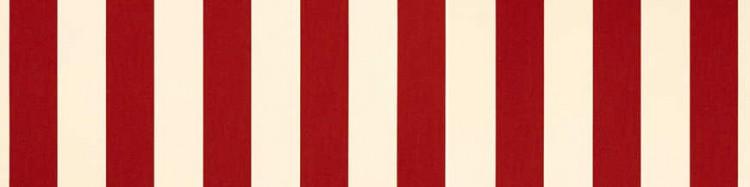 Stores avec toiles Rouge et Ecru ( largeur en façade 550 cm )
