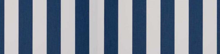 Stores avec toiles Bleu et Blanc Ecru ( largeur en façade 450 cm )