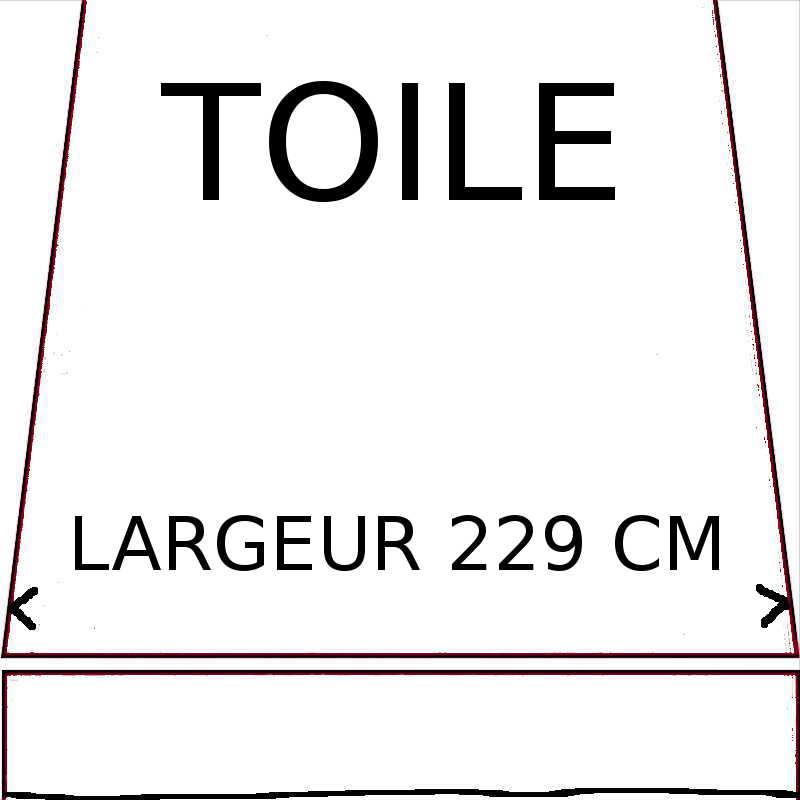 Toiles de remplacement d'une largeur maximumde 229 cm