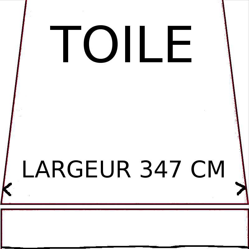 Toiles de remplacement d'une largeur maximumde 347 cm